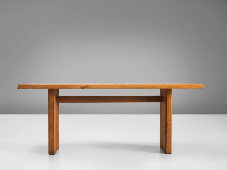 French Pierre Chapo Patinated Elm Dining Table For Sale
