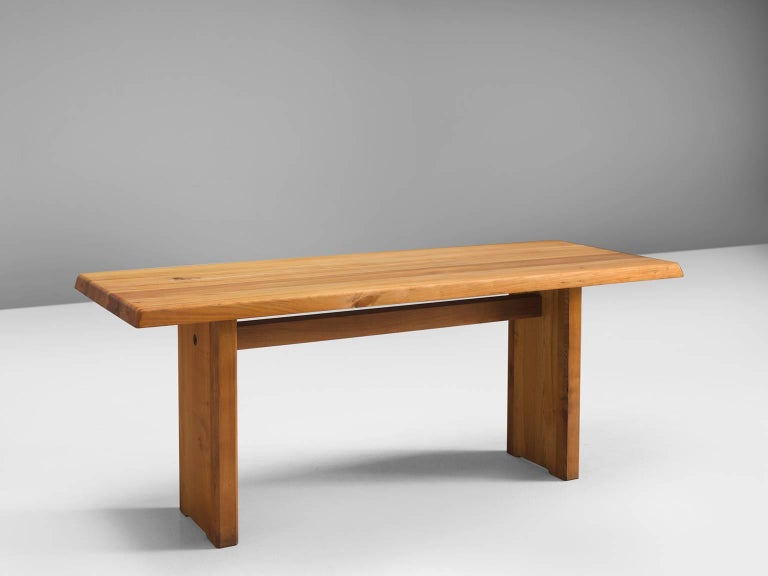 Pierre Chapo, dining table model T14D, elmwood, France, 1960s. 