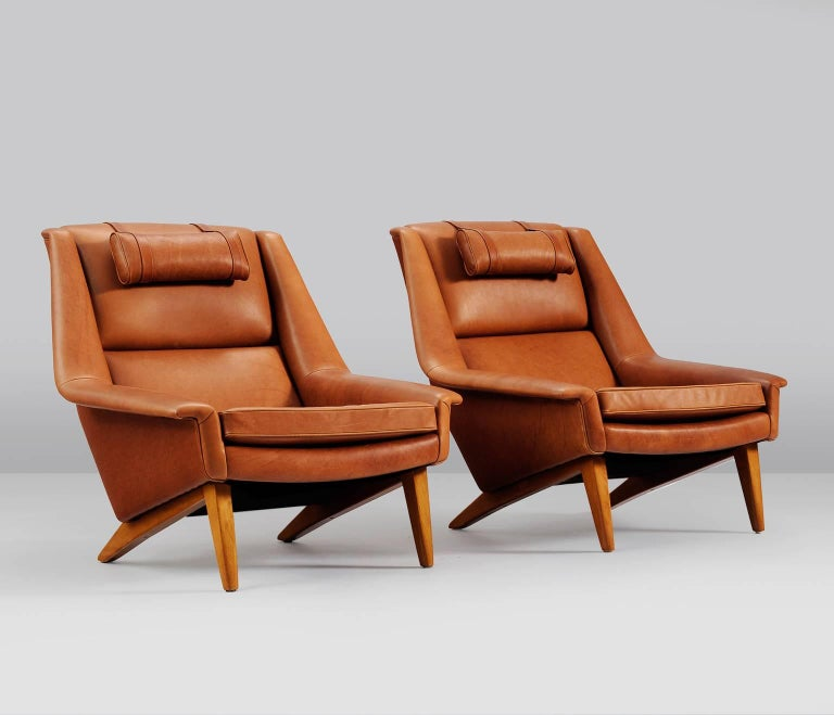 Package Deal for M - #4 Danish Reupholstered Lounge Chairs in Cognac Leather. Listed as 1 item, please note it is a set of 4.
