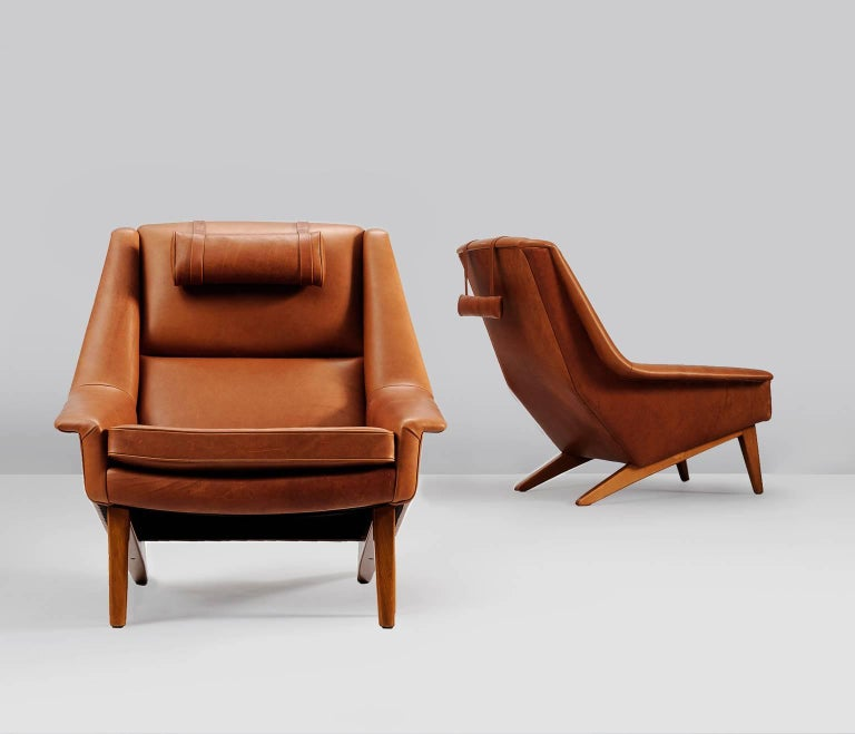 Mid-Century Modern Package Deal for M - #4 Danish Reupholstered Lounge Chairs in Cognac Leather For Sale