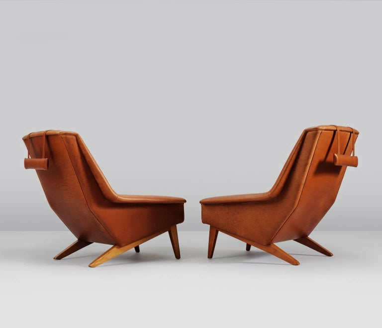 Package Deal for M - #4 Danish Reupholstered Lounge Chairs in Cognac Leather In Excellent Condition For Sale In Waalwijk, NL