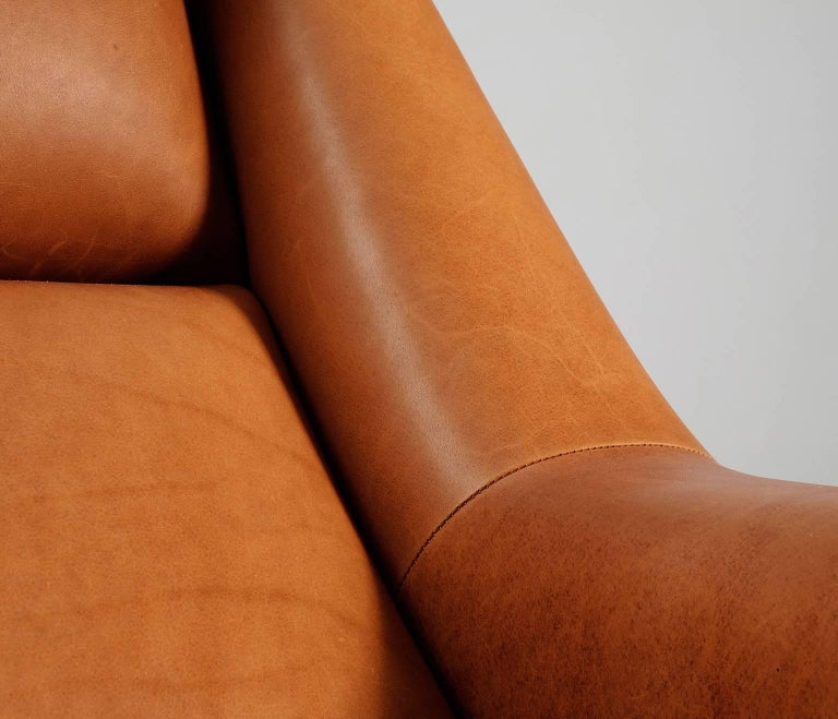 Teak Package Deal for M - #4 Danish Reupholstered Lounge Chairs in Cognac Leather For Sale