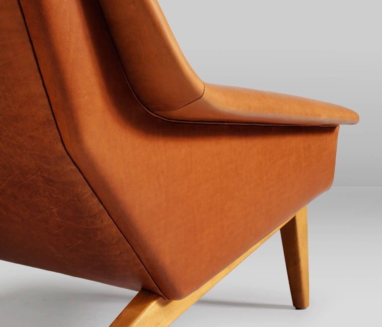 Package Deal for M - #4 Danish Reupholstered Lounge Chairs in Cognac Leather For Sale 1