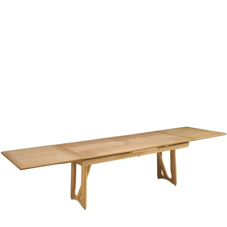 Large Guillerme & Chambron Extendable Dining Table in Oak