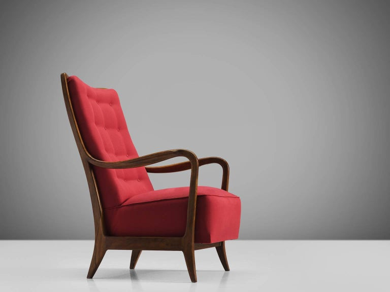Mid-Century Modern Italian Easy Chair for Cassina in Walnut For Sale