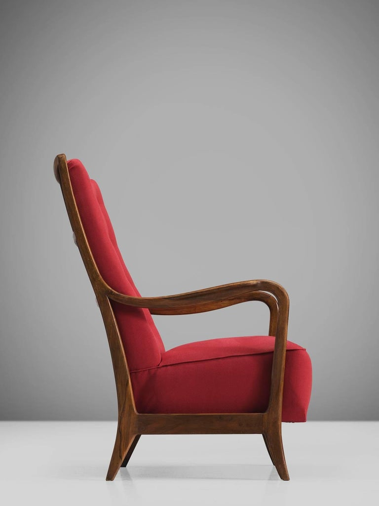 Italian Easy Chair for Cassina in Walnut In Good Condition For Sale In Waalwijk, NL