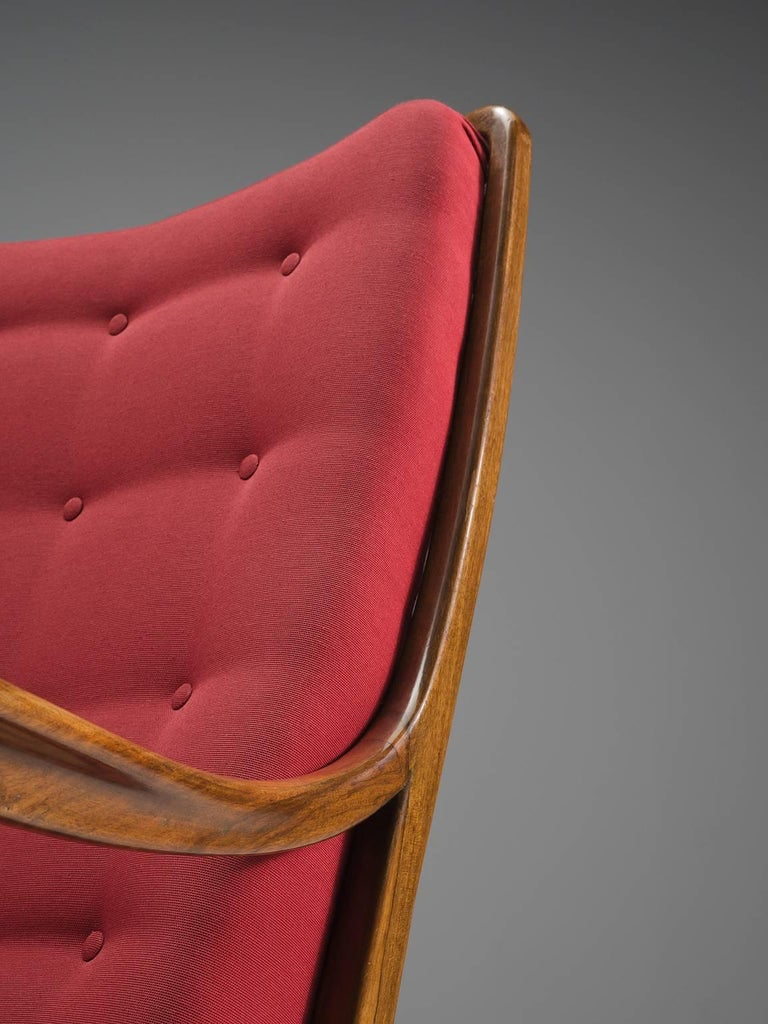 Mid-20th Century Italian Easy Chair for Cassina in Walnut For Sale