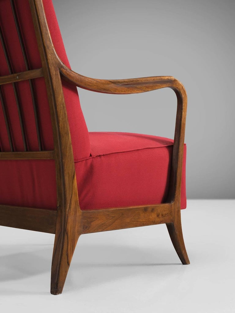 Fabric Italian Easy Chair for Cassina in Walnut For Sale
