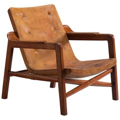 Early 1940s Kindt-Larsen 'Fireplace Chair' in Original Leather