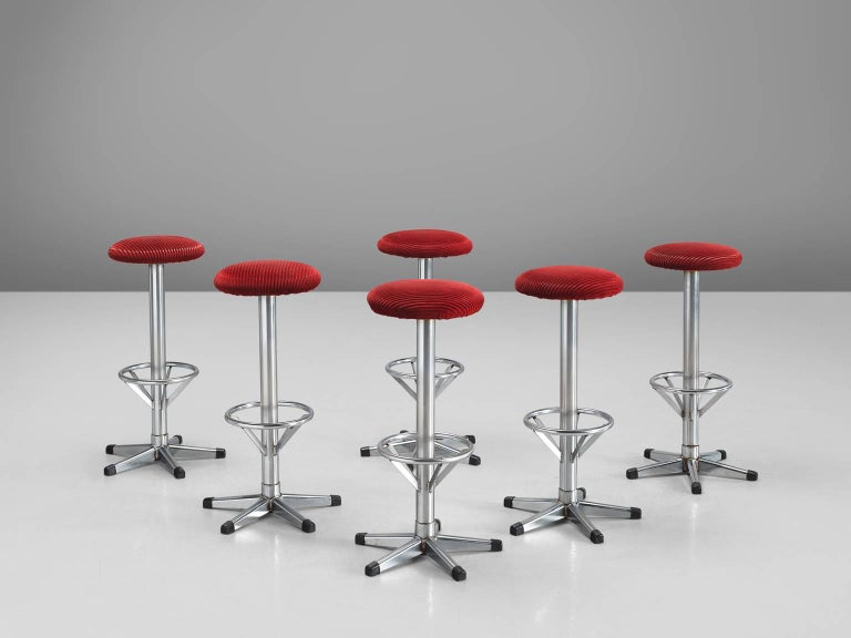 Set Of Twelve Postmodern And Red Corduroy Barstools For