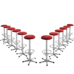 Set of Twelve Postmodern and Red Corduroy Barstools