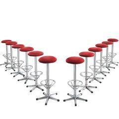 Set of Twelve Postmodern and Red Corduroy Barstools