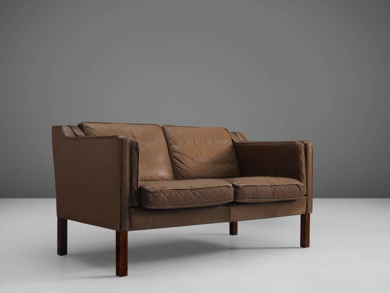 Danish Brown Leather Sofa for Stouby Polster Møbelfabrik