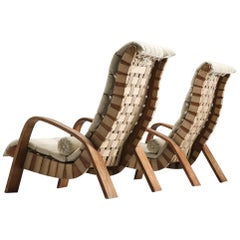 Set of Two European Canvas Lounge Chairs
