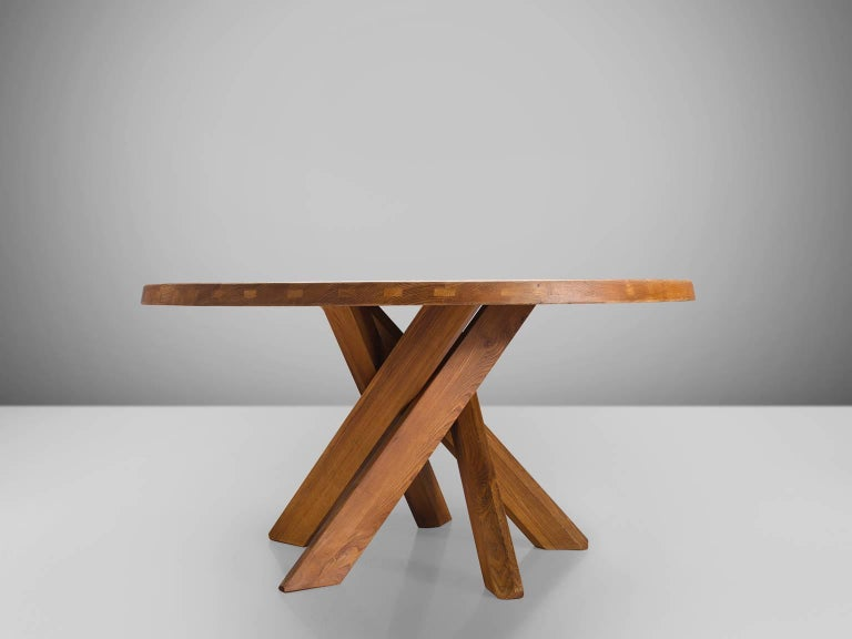 Mid-Century Modern Pierre Chapo T21 Dining Table in Solid Elm For Sale