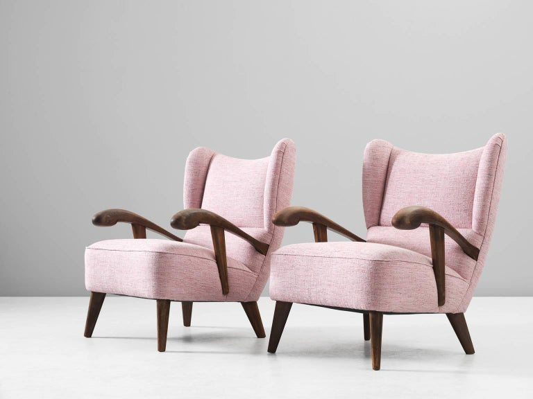 Mid-Century Modern Pair of Reupholstered Lounge Chairs with Sculptural Wooden Frame For Sale