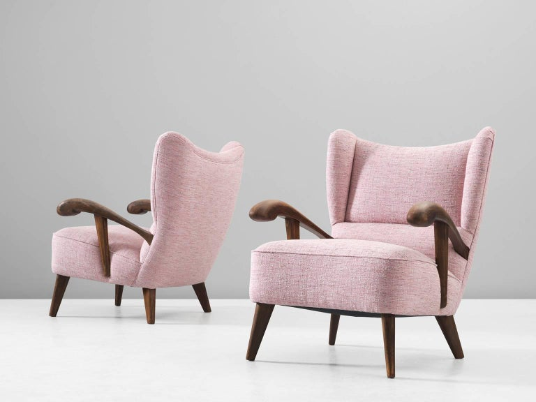 Czech Pair of Reupholstered Lounge Chairs with Sculptural Wooden Frame For Sale