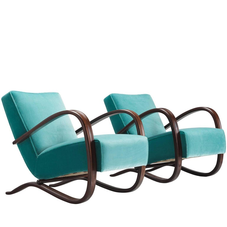 Jindrich Halabala Lounge Chairs in Reupholstered in Turquoise Velvet
