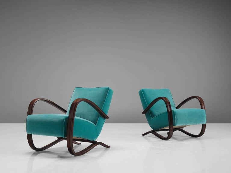 Art Deco Jindrich Halabala Lounge Chairs in Reupholstered in Turquoise Velvet For Sale
