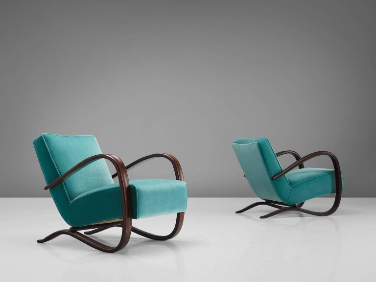 Czech Jindrich Halabala Lounge Chairs in Reupholstered in Turquoise Velvet For Sale