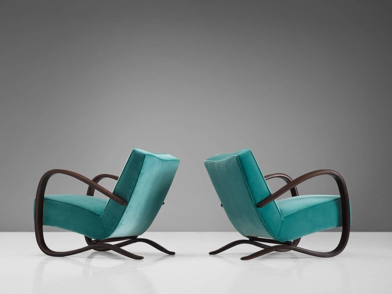 Jindrich Halabala Lounge Chairs in Reupholstered in Turquoise Velvet In Excellent Condition For Sale In Waalwijk, NL