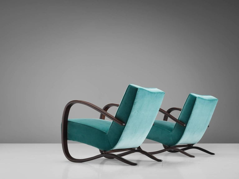 Mid-20th Century Jindrich Halabala Lounge Chairs in Reupholstered in Turquoise Velvet For Sale