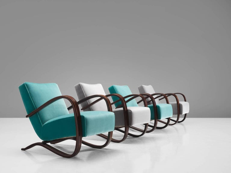 Jindrich Halabala Lounge Chairs in Reupholstered in Turquoise Velvet For Sale 1