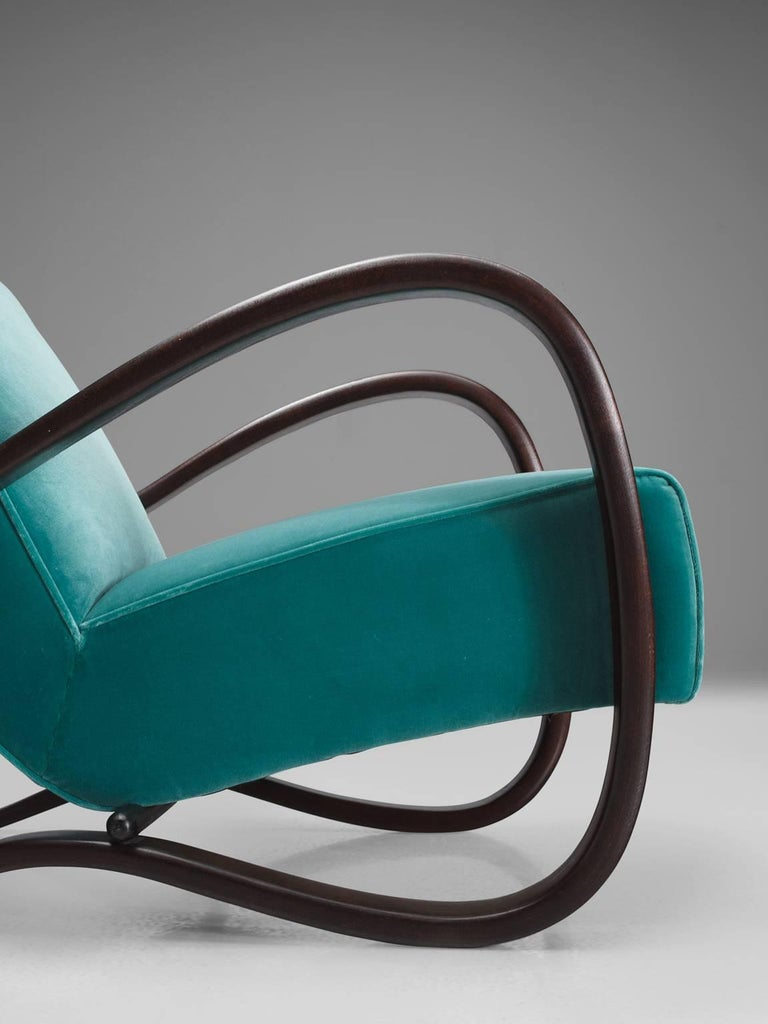 Jindrich Halabala Lounge Chairs in Reupholstered in Turquoise Velvet For Sale 2