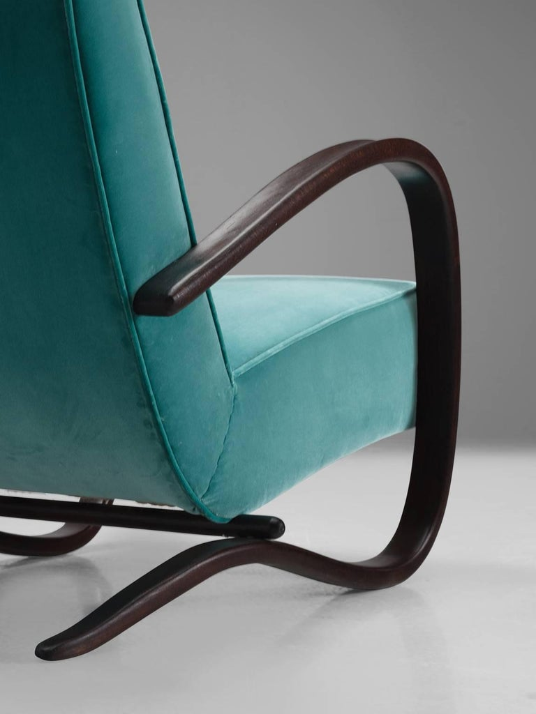 Jindrich Halabala Lounge Chairs in Reupholstered in Turquoise Velvet For Sale 3