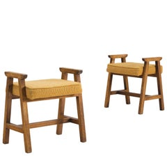 Guillerme & Chambron Set of Two Oak and Fabric Stools