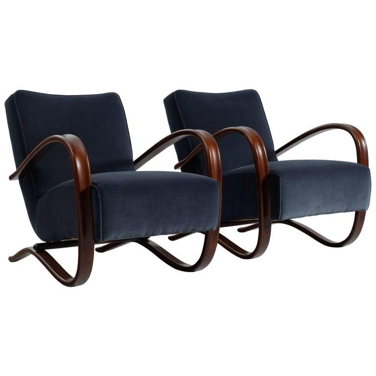Jindrich Halabala Pair of Customized Lounge Chairs