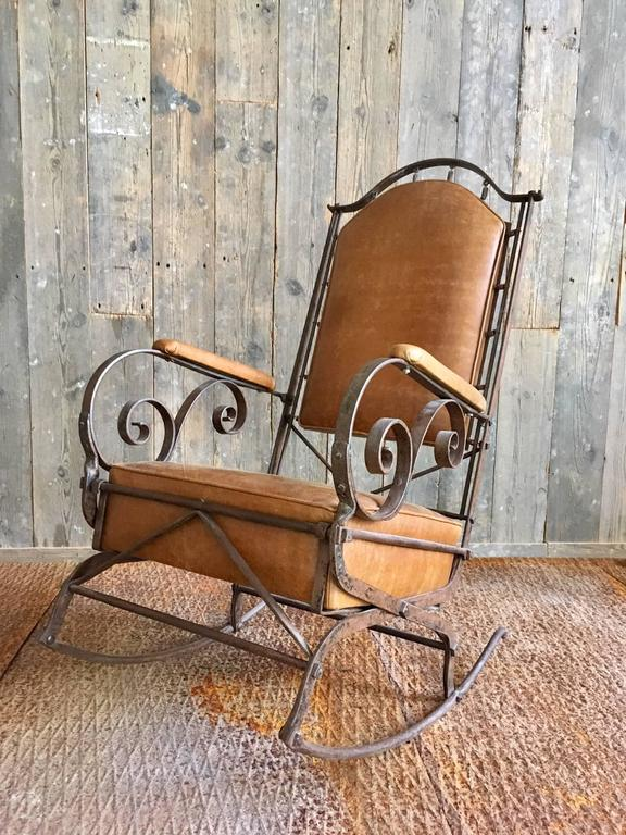 19th Century Wrought Iron And Leather Rocking Chair For