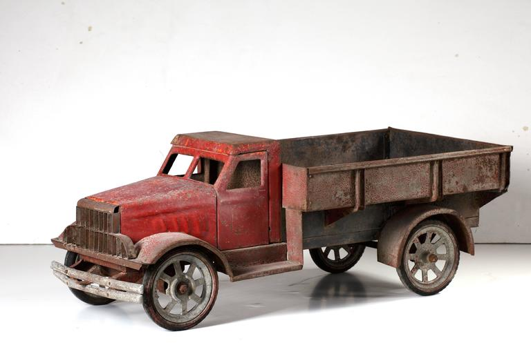 Industrial Large Old Polychrome Painted Metal Model of a Lorry For Sale