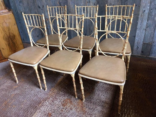 Bauhaus Look Stoelen.Faux Bamboo Metal Chairs From The 1970s At 1stdibs