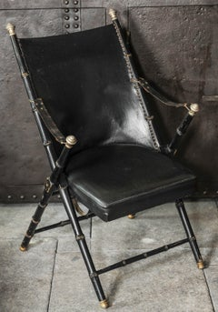 Maison Jansen Blackened Wood and Leather Campaign Chair