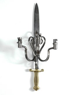 Pair of Appliques/Candle Sconces Made of Antique Swords and Bayonets