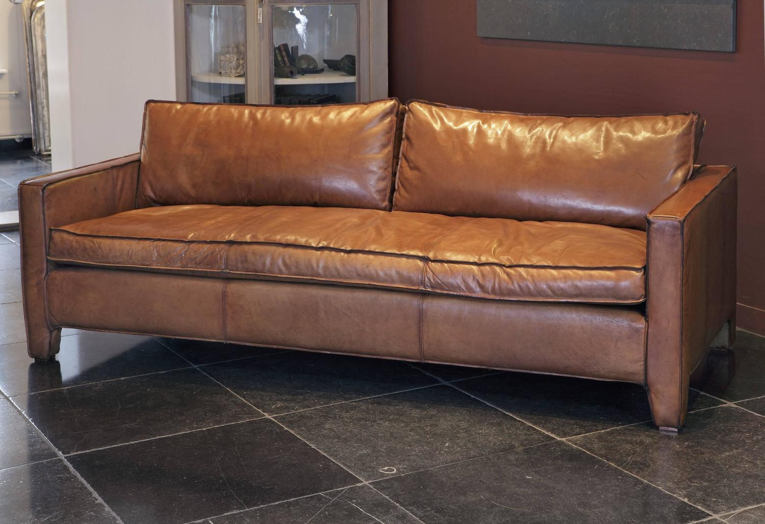 Comfortable modern and sleek calfskin leather three seat for Comfy sofas for sale
