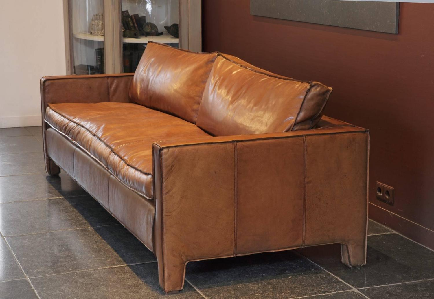Comfortable modern and sleek calfskin leather three seat for Most comfortable couches for sale
