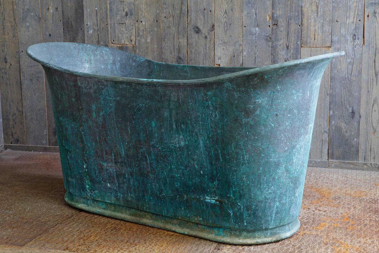 Very Rare Antique Copper Bathtub Quot Bain Bateau Quot At 1stdibs