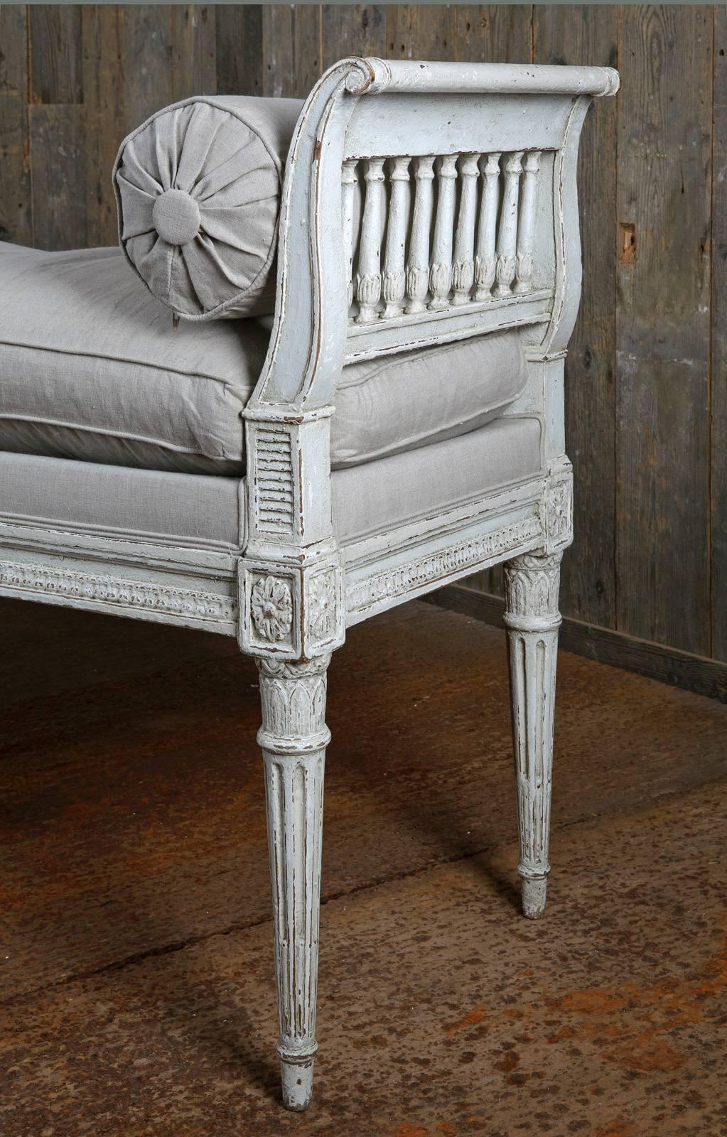 Louis Xiv Bankje.Decorative French Finely Carved Oak Louis Xvi Style Window Seat Or