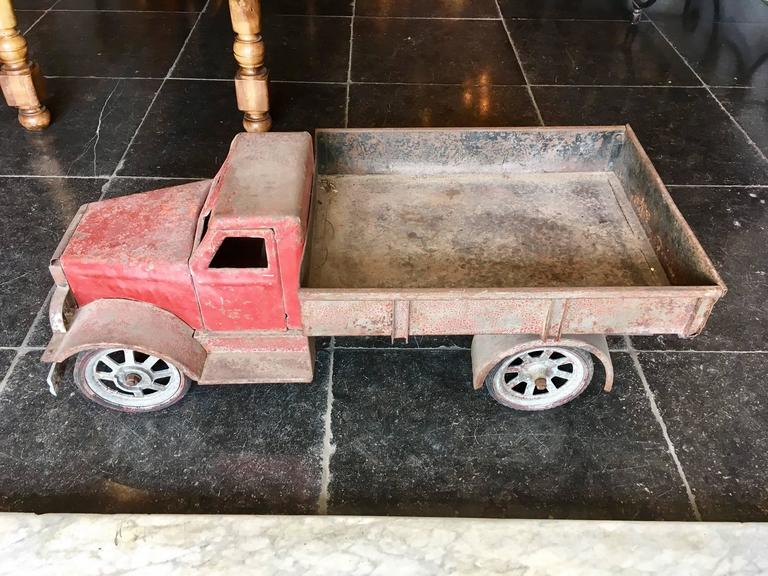 European Large Old Polychrome Painted Metal Model of a Lorry For Sale