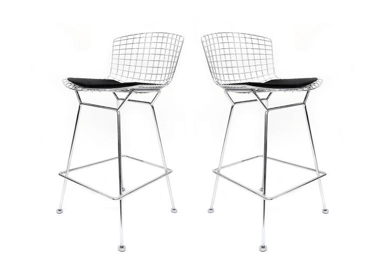 Bertoia Set Of Two Chrome Bar Stools For Sale At 1stdibs