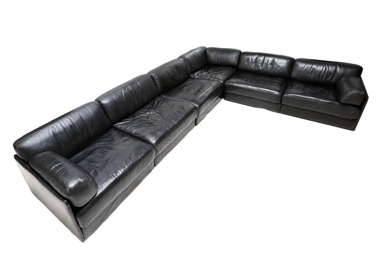 de sede ds 76 black leather sofa at 1stdibs. Black Bedroom Furniture Sets. Home Design Ideas