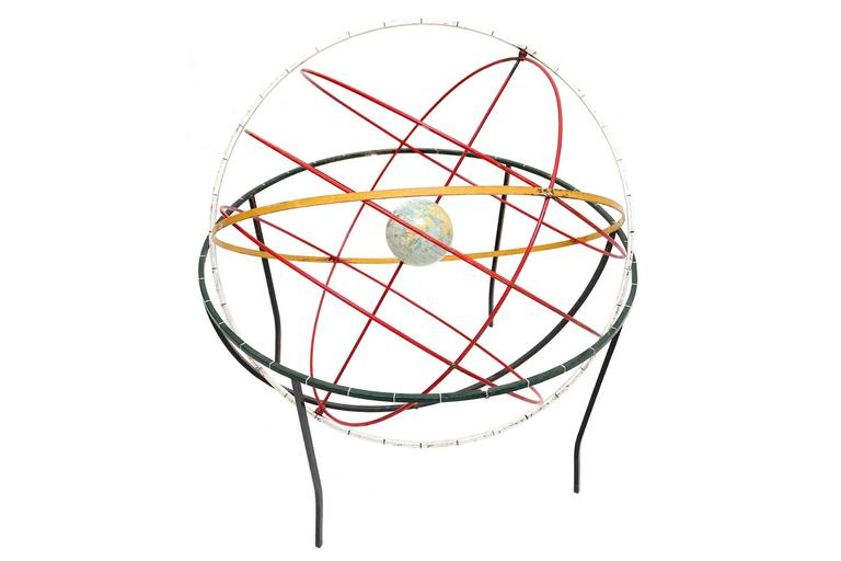 Mid-Century Modern Decorative kinetic sculpture of the earth and orbits For Sale