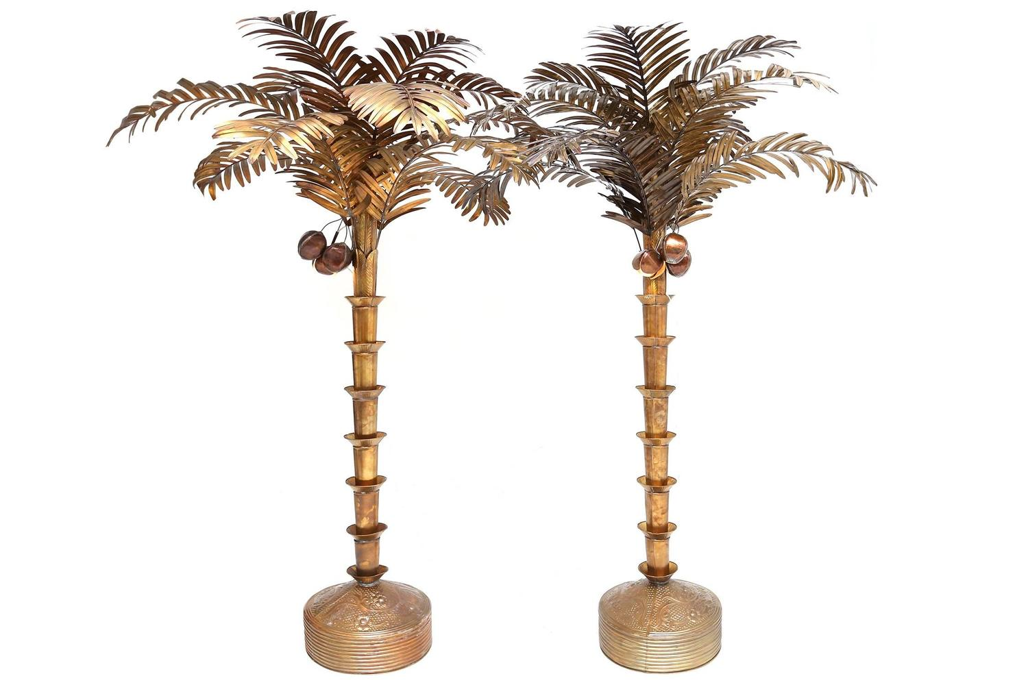 A pair of huge palm tree floor lamp at 1stdibs for Art deco palm tree floor lamp