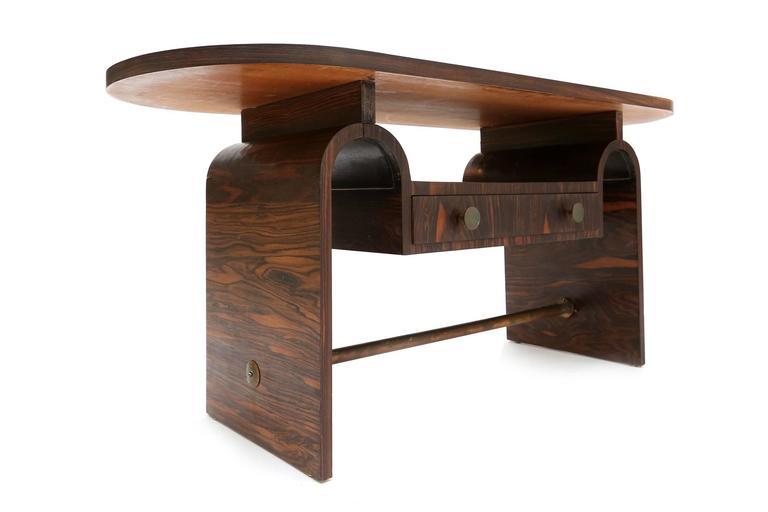 Art Deco table in Macassar, bronze. Arnold Bueno-de-Mesquita for Metz & Co. measures: W 121 cm, D 46 cm, H 55 cm.
