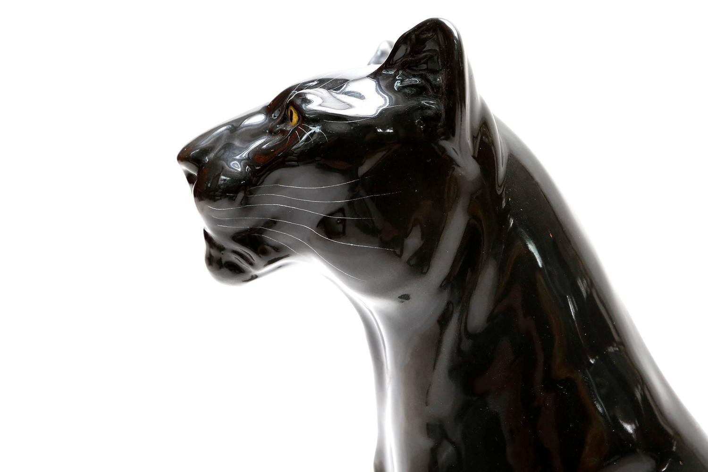Black ceramic panther for sale at 1stdibs - Black panther ceramic sculpture ...