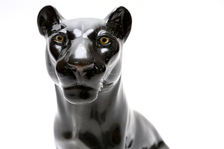 Black ceramic panther at 1stdibs - Black panther ceramic sculpture ...