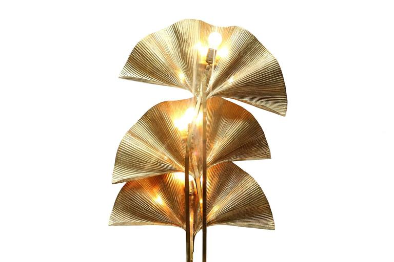 Brass Gingko Leaf Floor Lamp For Sale