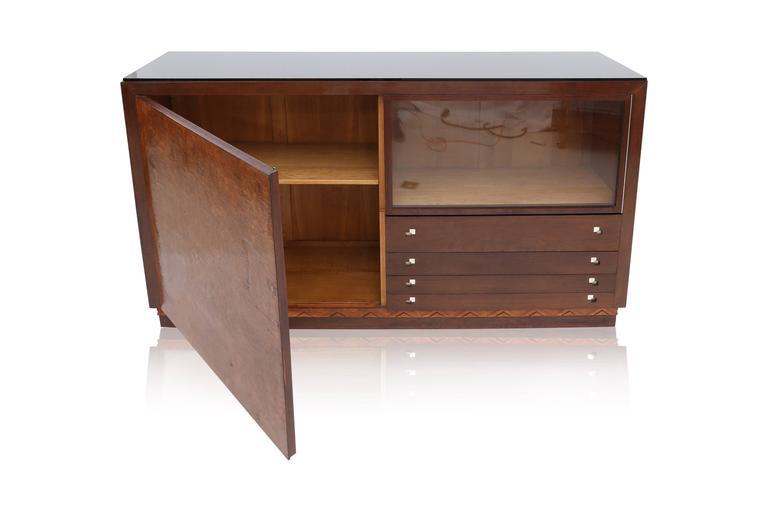 Bone Charles Van Beerleire Art Deco Mahogany Credenza For Sale